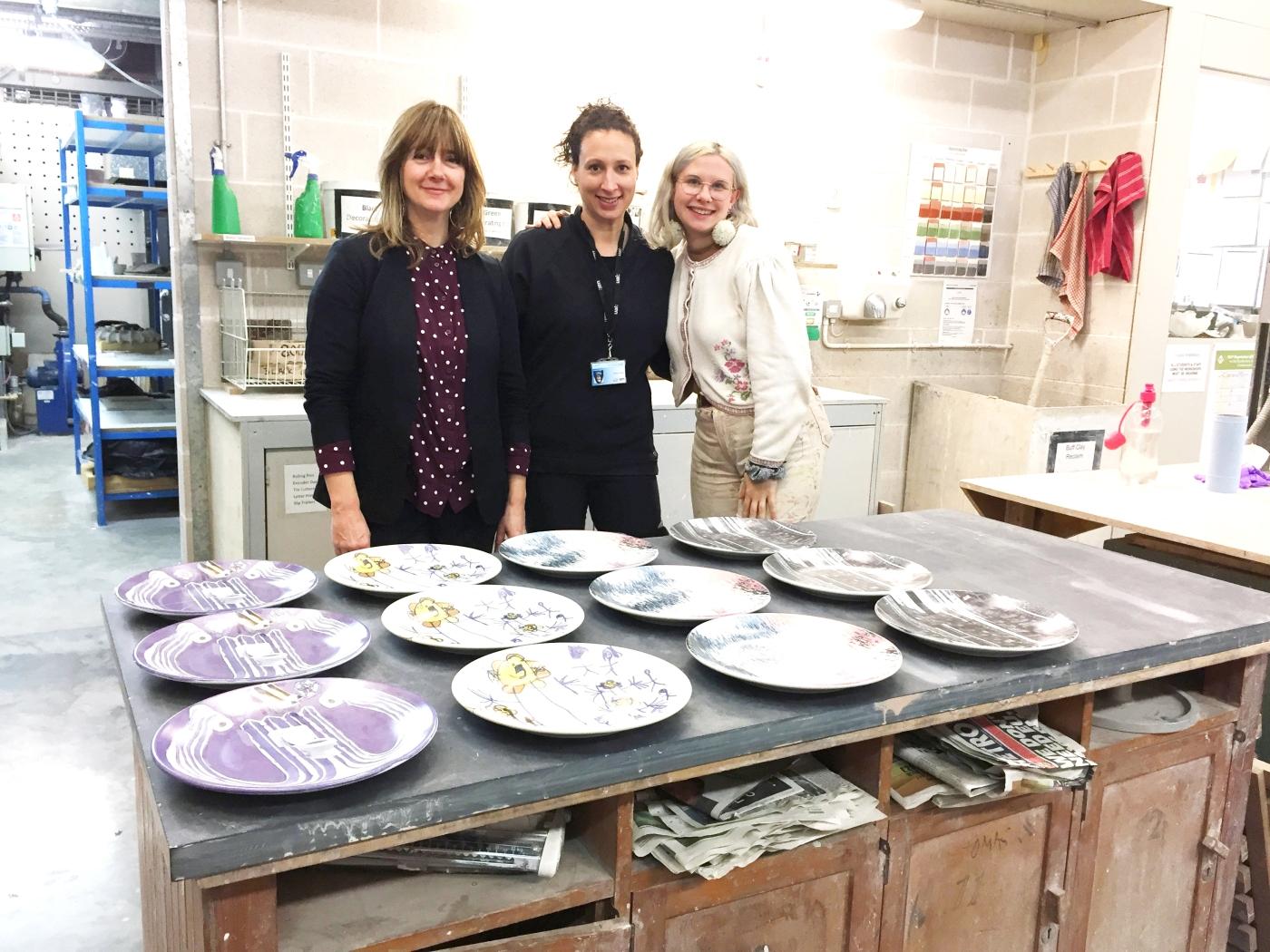 Emma Neuberg (L) Cherie Silver (M) Ella Rose Caton (R) in the Ceramics Studio at Chelsea College_The Democratic Dish 2018